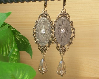 Upcycled Jewelry ~ Vintage Engraved Swiss Watch Face ~ Rhinestone Earrings