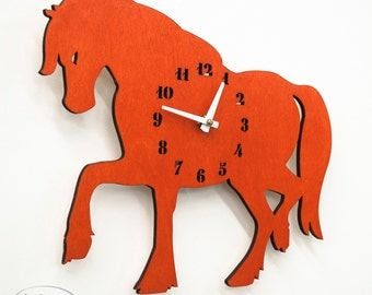 "The ""Oh, My! Orange Mare"" designer wall mounted clock from LeLuni"
