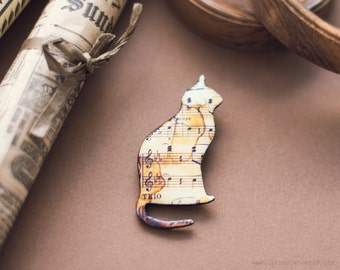 Vintage sheet music brooch - cat silhouette brooch, cat jewelry, cat brooch, music jewelry, music brooch, vintage brooch, retro jewelry