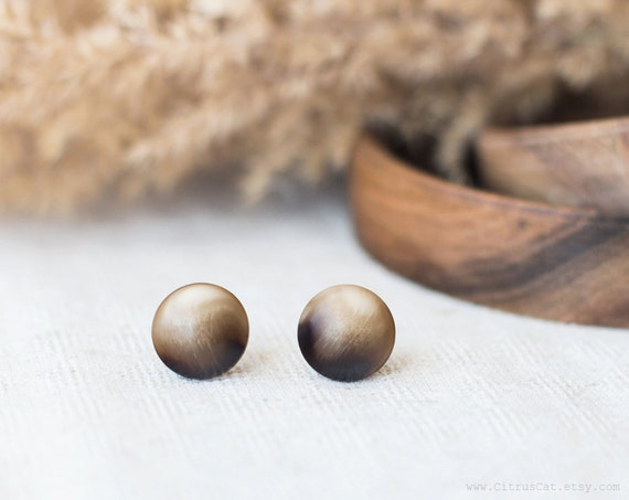 jewelry, earrings, CitrusCat, studs, stud earrings, ear posts, unique jewelry, rustic jewelry, brown earrings, ombre jewelry, ivory earrings, boho jewelry, woodland jewelry, fall, autumn, brown earrings, vintage earrings,