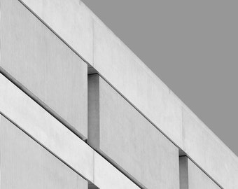 A GREY SLANT   Geometric photo art print   grey architecture photo   black and white brutalist photo   grey home decor   office wall art