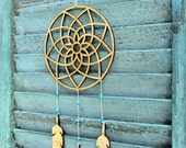 dream catcher Mobile - feather mobile - modern mobile - wood feathers - vegan - turquoise