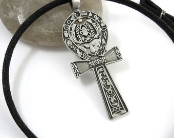 Large Ankh Necklace - Silver Key of Life Cross Pendant with Scarab - Egyptian Jewelry