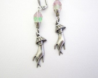 Pastel Earrings - Mint and Candy Pink - Victorian Hands - Lolita