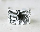 Octopus Bracelet - Cuff Bracelet - Black and White Bracelet - Nautical Jewelry - Octopus Bracelet - Large Cuff Zoe Madison (222)