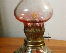Vintage Miniature Glass Hurricane Oil Lamp