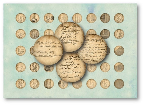 Digital Collage Sheet Download - Vintage Ephemera 1 inch circles -  134   for Jewelry Pendants - Instant Download Printables