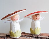Felt Mushroom Dolls - Miniature Twin Toadstool Easter Thanksgiving Toys