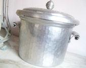 Vintage Aluminum Ice Bucket Hammered Hand Forged Everlast Metal Porcelain Insulated