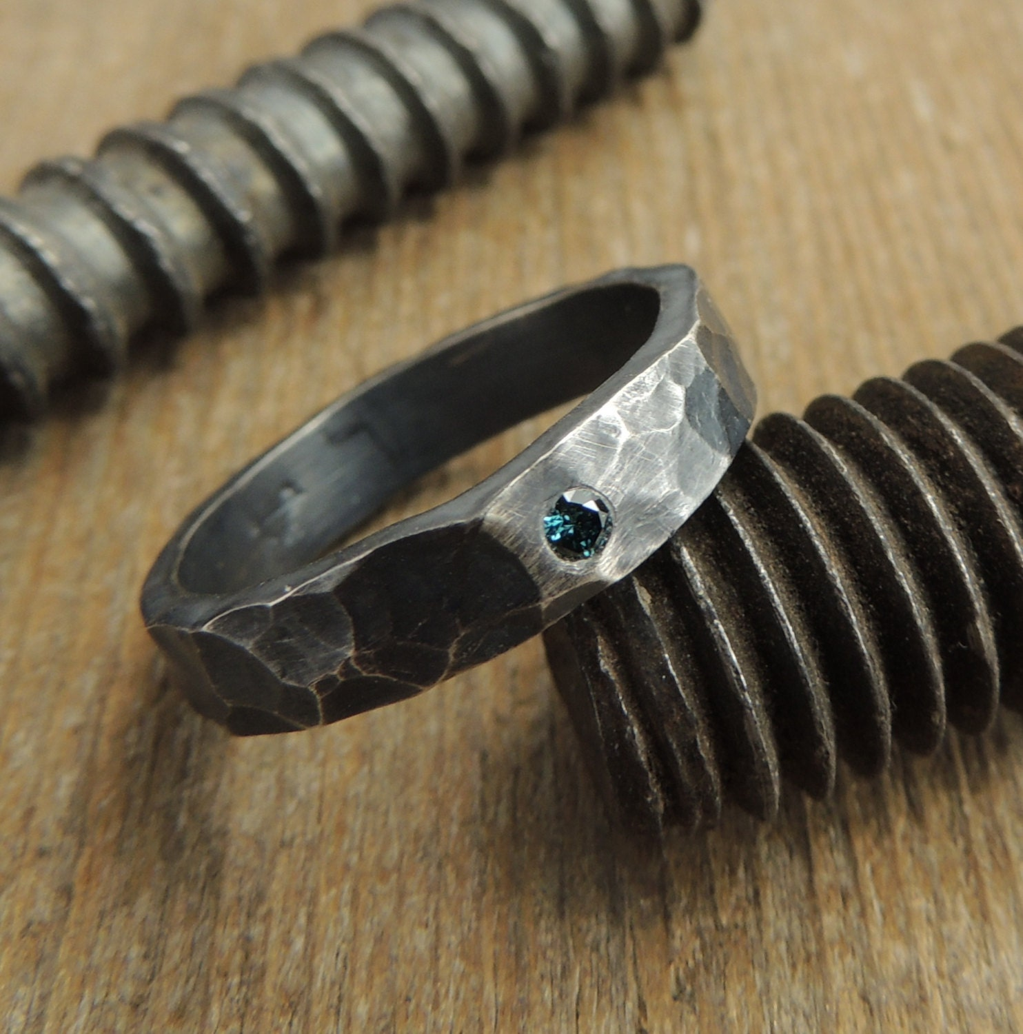 blue mens wedding band by pointnopointstudio