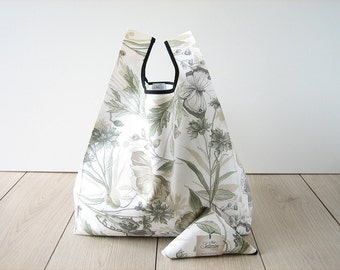 shopping bag flower and butterfly / botanical printed cotton shopper / romantic tote bag / triangle fold bag / edge in black ribbon / 1 ps