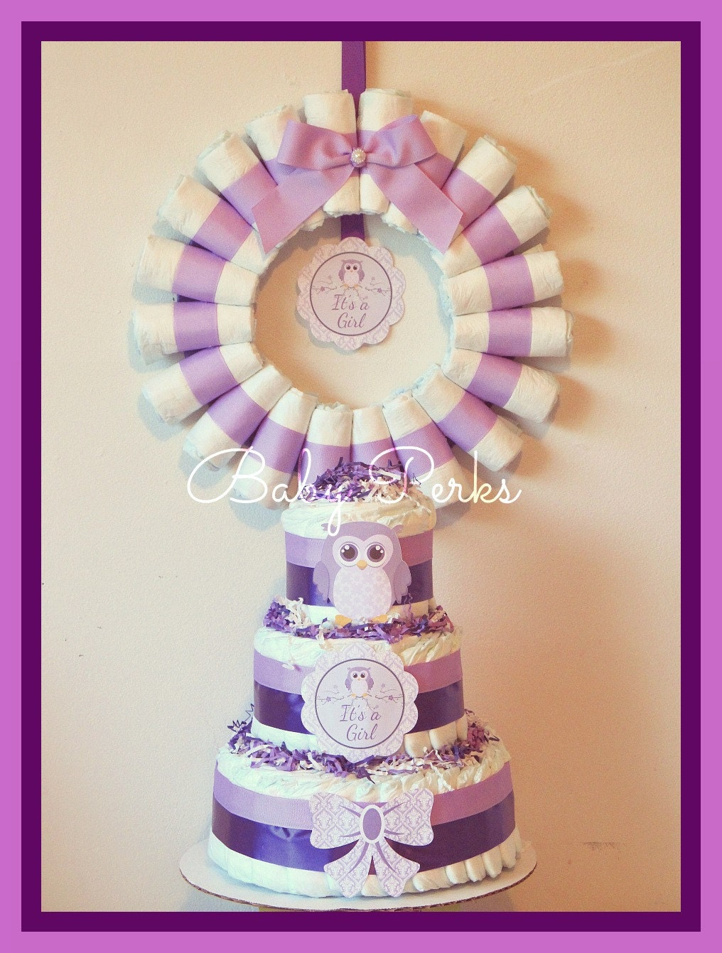 owl diaper cake purple owl baby shower owl baby shower