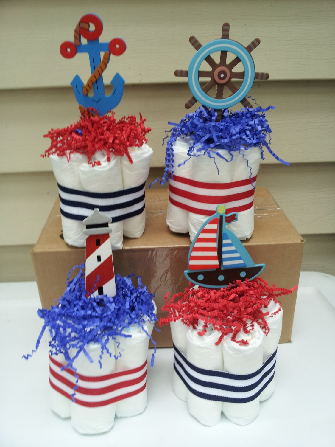 Nautical theme mini diaper cakes baby shower by