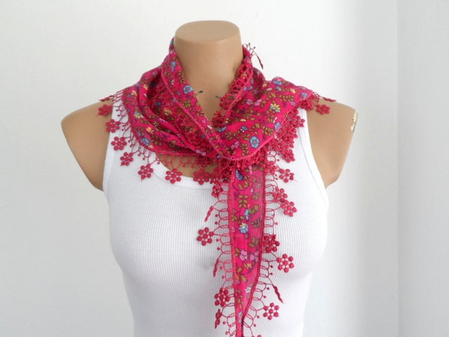 Floral Vine Red Scarf Cotton Summer Scarf Women Scarves