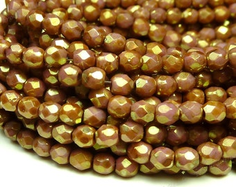 3mm Opaque Rose Gold Topaz Luster Czech Glass Beads - 5 Inch Strand (50pcs) - Round, Faceted, Fire Polished - BD37