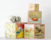1950's Wood Nesting Blocks with Beautiful Illustrations by Lungers Hausen - West Germany
