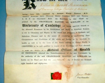 1882 Victorian Presents for Medical Officer Cambridge University - Steavenson Downing College