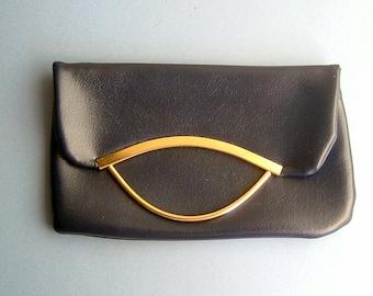 1960s Navy Handbag Bag Purse Clutch with Gold Fold Handle Original True Vintage
