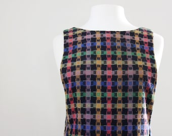 Vintage '60s Plaid Pinafore Dress - Plaid Dress Wool - Mod Shift Dress - Size Small