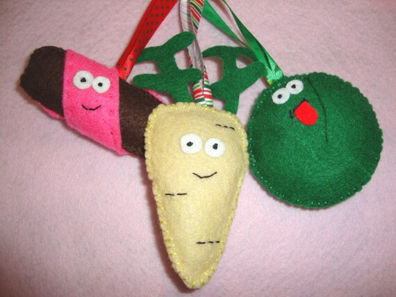 Christmas Decorations - Parsnip, Brussel Sprout & Pig in a Blanket