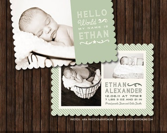 INSTANT Download 5x7 Birth Announcement Card Template - Luxe or Flat edge - B26