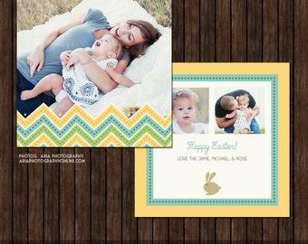 5x5 PSD Easter Card - Spring Card - Template - EA9