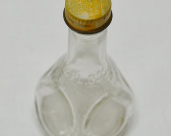 Vintage Virginia Dare Flavors Bottle and Cap - Orange Flavor - Old Bottle - Clear Glass - Dimpled Bottle