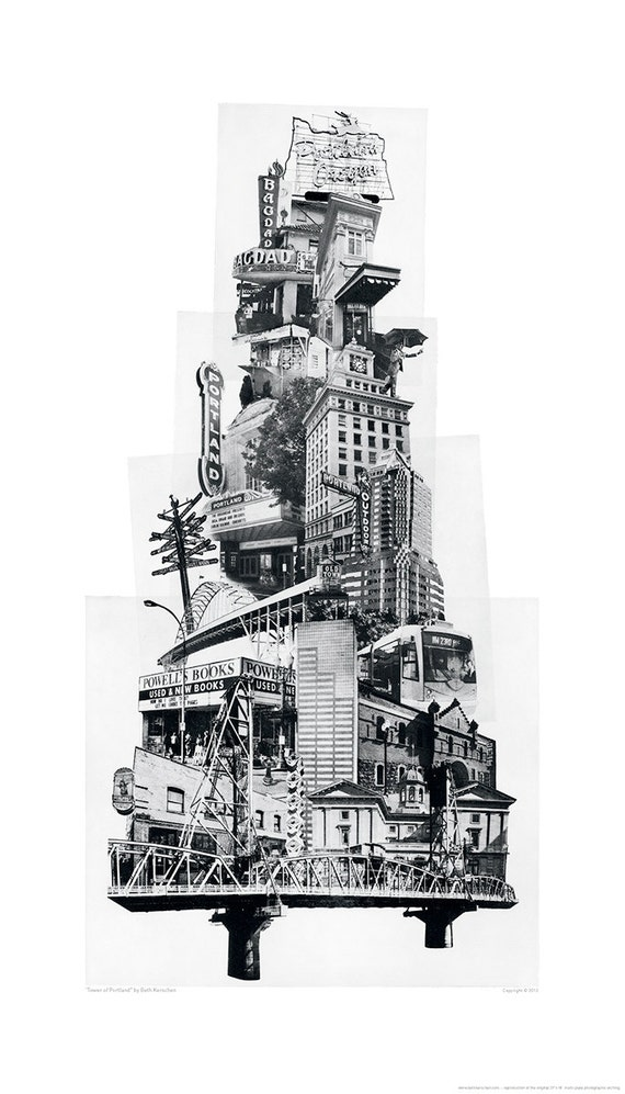 Portland Art // Poster // Print // Oregon Art // Collage // Cityscape // Tower of Portland