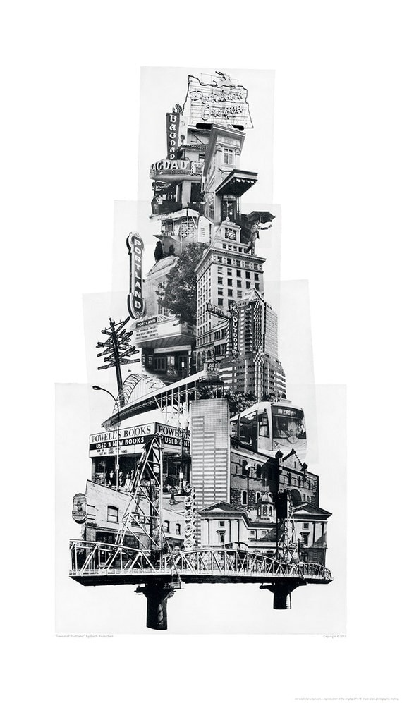 ON SALE!! Portland Art // Poster // Print // Oregon Art // Collage // Cityscape // Tower of Portland
