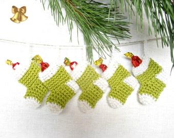 Christmas Garland Ornament Miniature Stocking Green Red White Set 5 Amigurumi Merino Wool