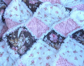 Baby Girl Rag Quilt - Shabby Chic - Chocolate - Rose - Pink - Brown