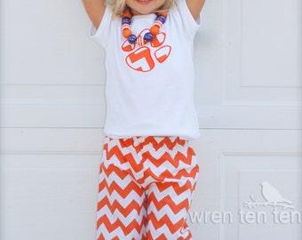 girls CLEMSON CHEVRON PANT set - chevron & polka dot ruffle pants with tiger paw appliqué top - many sizes