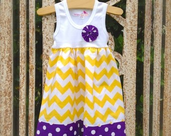 LSU or ECU purple and gold.. chevron & polka dot fabrics - Now available in long sleeves!!  you choose - many sizes