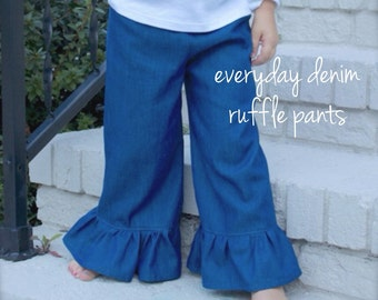 DENIM RUFFLE PANTS - baby, toddler, girls - many sizes