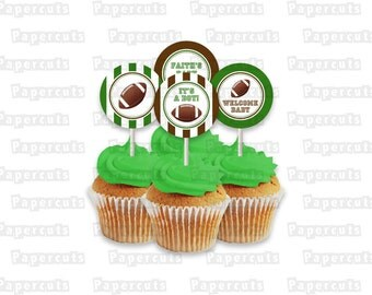 Printable DIY Green and Brown Football Theme Personalized Baby Shower Cupcake Toppers Digital File