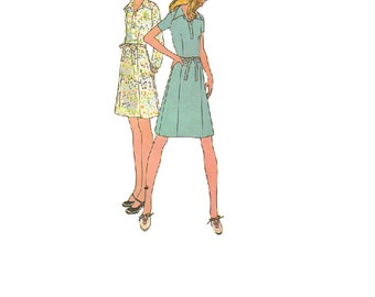 1970s Classic Shirt Dress Vintage McCall's Sewing Pattern Wide Collar Breast Pockets Tie Waist Uncut FF Bust 36