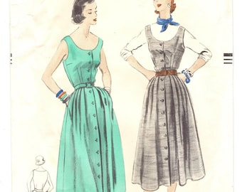 Vogue 7933 Vintage 50s Lovely One Piece Dress or Jumper Sewing Pattern Size Bust 34