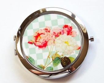 Flower compact mirror, Peony, Flower Mirror, mirror, floral, Floral mirror, Pocket mirror, Flower pocket mirror (2941)