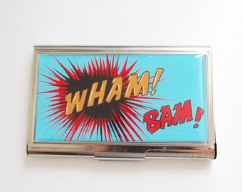 Business Card Case, Comic Card Case, Comic Book, Card case, business card holder, Geekery, Geek, blue (3228)