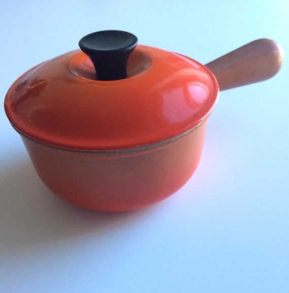 vintage le creuset flame 14 saucepan by bongenre on etsy. Black Bedroom Furniture Sets. Home Design Ideas