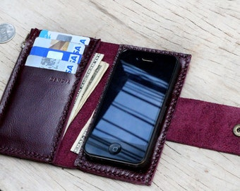 iPhone4/ Purple leather iPhone wallet with case and extra pockets