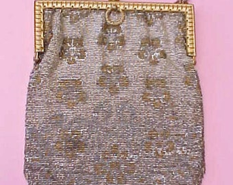 Lovely Antique French Art Deco Era Beaded Bag with Paris Label