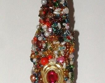 Vintage Jewelry Red Jeweled Vase - Red Silk Flowers - Sculpted Vintage Jewelry ~ Embellished Vase
