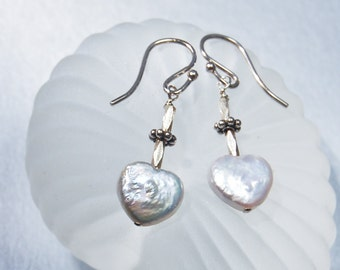 Pearl Earrings.  Heart  Shape . Valentines Day