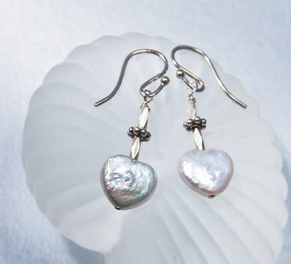 Pearl Earrings.  Heart  Shape . Valentines Day