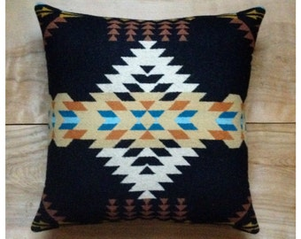 Wool Pillow - Black Turquoise Native Geometric Tribal Southwest Western