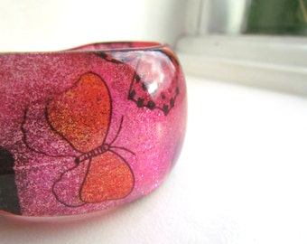 Chunky Pink & Orange Glittery Resin Butterfly Plastic Bangle