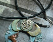Triple Moon Deer Polymer Clay Pendant/Necklace- Wiccan,Pagan,New Age
