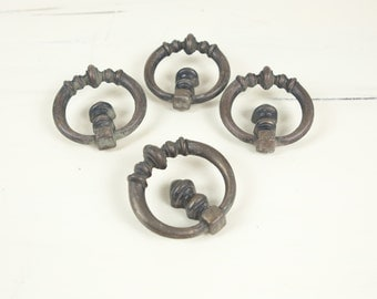 Vintage Brass Drawer, Cabinet Pull / Handle w/ round cutout ornate pattern (set of 4)