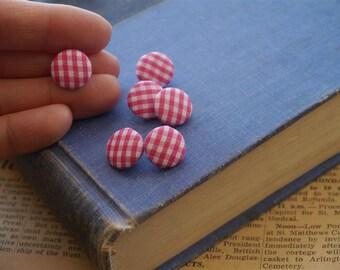 CLEARANCE 20 pcs Gingham Fabric  Fushcia Pink Shank Button 14mm (BT961)